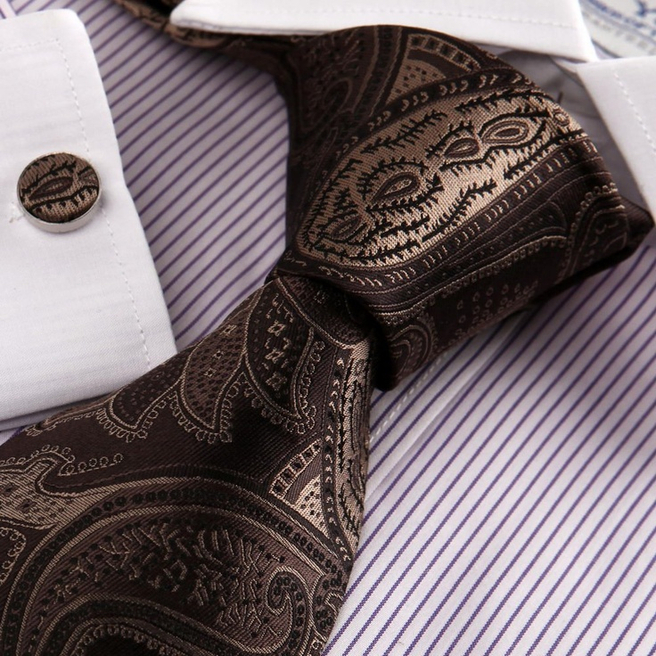 Brown Pattern Neck Ties for Men Paisley Gift for Best Man Formalwear Silk Tie Cufflinks Set A1094: Amazon.com: Clothing