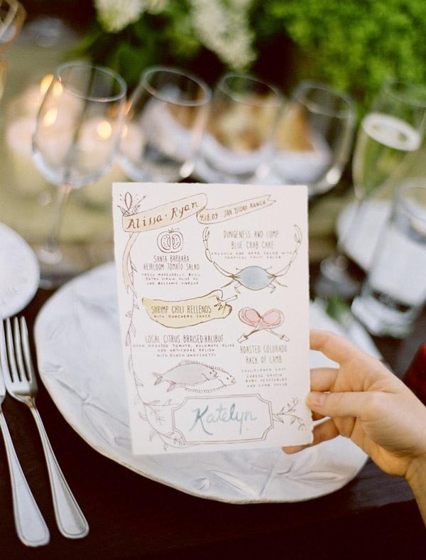 Pretty illustrated wedding menu.  Photo by Jose Villa http://josevillablog.com/ Menu by Yellow Owl Workshop http://www.yellowowlworkshop.com/