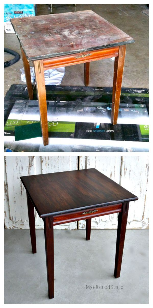 New stain over old stain.  Refinished Furniture   Small Vintage Table   Before and After