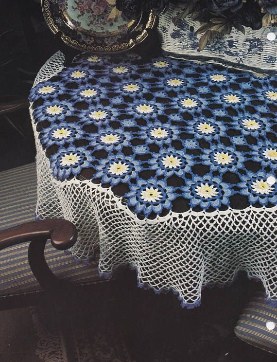Floral Afghan & Tablecloth Annie's Crochet Quilt and