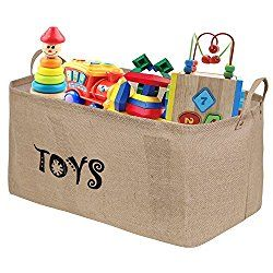 Bondream 22″ L x 13″ W x 11″Jute Toy Storage Toy Chest Bin Basket,Well Holding Shape,Water-Resistant,Collapsible Box Organizer Perfect for organizing Baby Toy,Kid Toy,Baby Clothing,Children Book