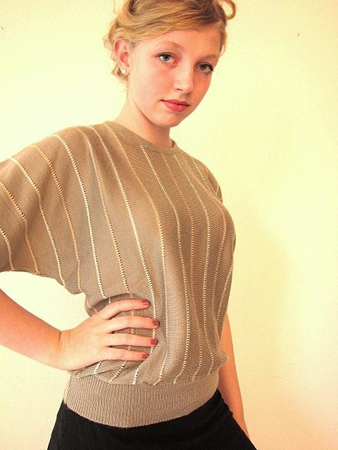SALE Batwing sage green sweater with peach and white by vonBingen