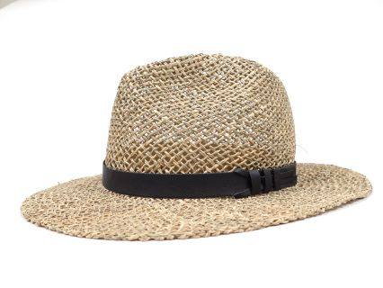 Panama summer hat. Handmade of 100% natural sea grass, with cotton sweatband and trimmed with black faux leather ribbon.