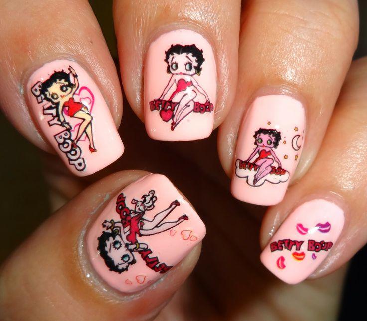 Betty Boop Nails: KKCenterHk Kiss Moon Betty Boop Water Decals