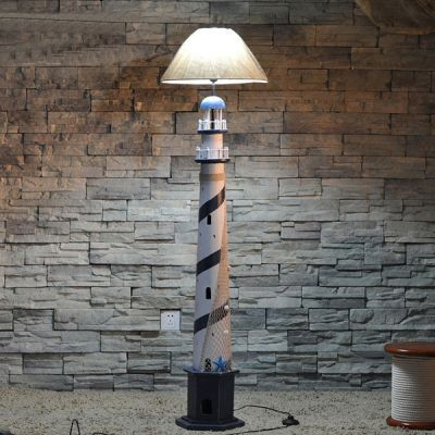 The Mediterranean-style Floor Lamp Creative Wooden Lighthouse Floor Lamp Children's Bedroom Study Room Lamp Lighting