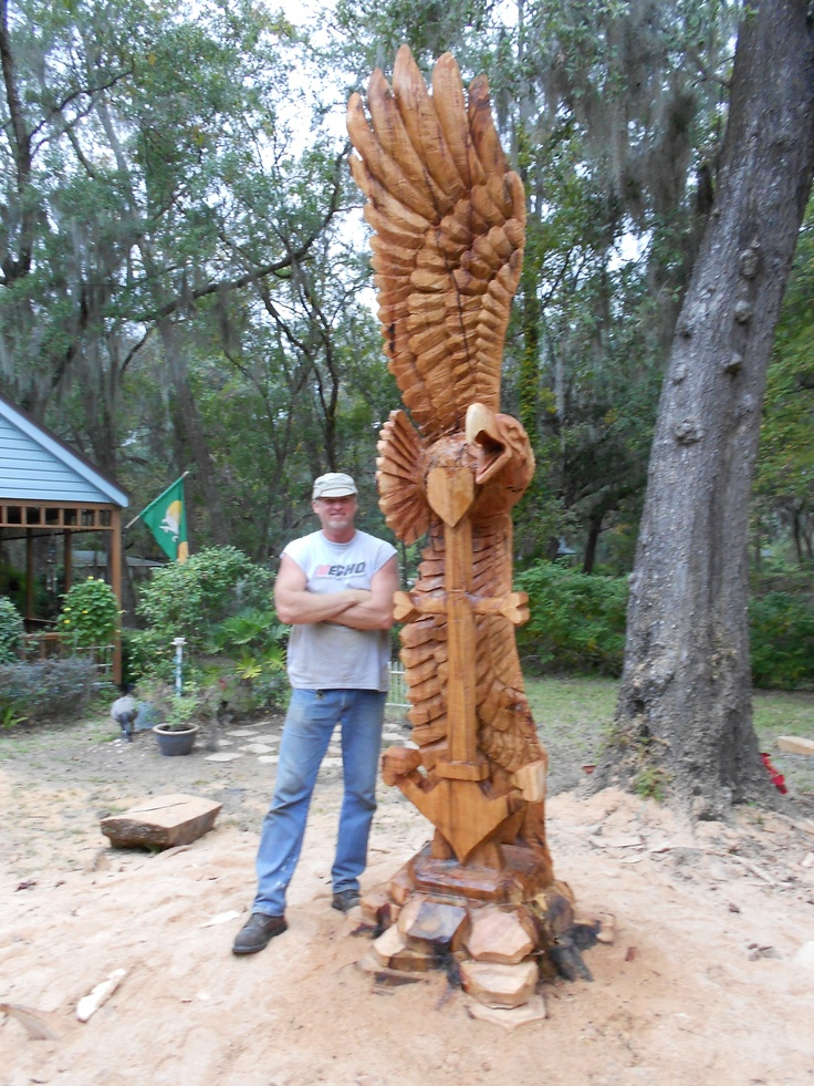 Water oak tree with eagle carved using chain saws all of