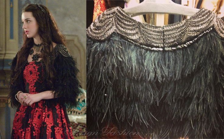 In 1x16, Mary wore this feathered & beaded shrug, which was actually a piece from The Great Gatsby!  The costume department was loaned the item from Warner Bros.
