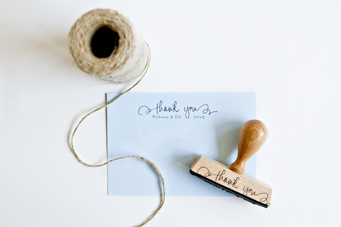 """Personalized Wedding Calligraphy Thank You Stamp - 3"""" custom rubber stamp with names and date for DIY wedding thank you notes and favors. $35.00, via Etsy."""
