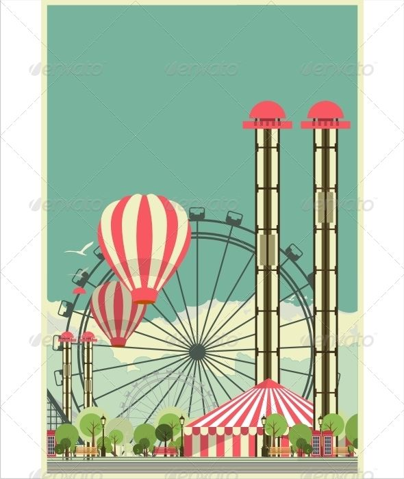 Carnival City Park http://graphicriver.net/item/carnival-city-park/8103379?ref=damiamio illustration with urban amusement park with rides and circus - The Good choice for the use in infographics and interface is Fastened to the folder ZIP contains: - EPS 8 - AI CS - JPG Thank you for purchasing the item! I will be glad to your feedback! Created: 27June14 GraphicsFilesIncluded: JPGImage #VectorEPS #AIIllustrator Layered: No MinimumAdobeCSVersion: CS Tags: amusementpark #background #balloon…
