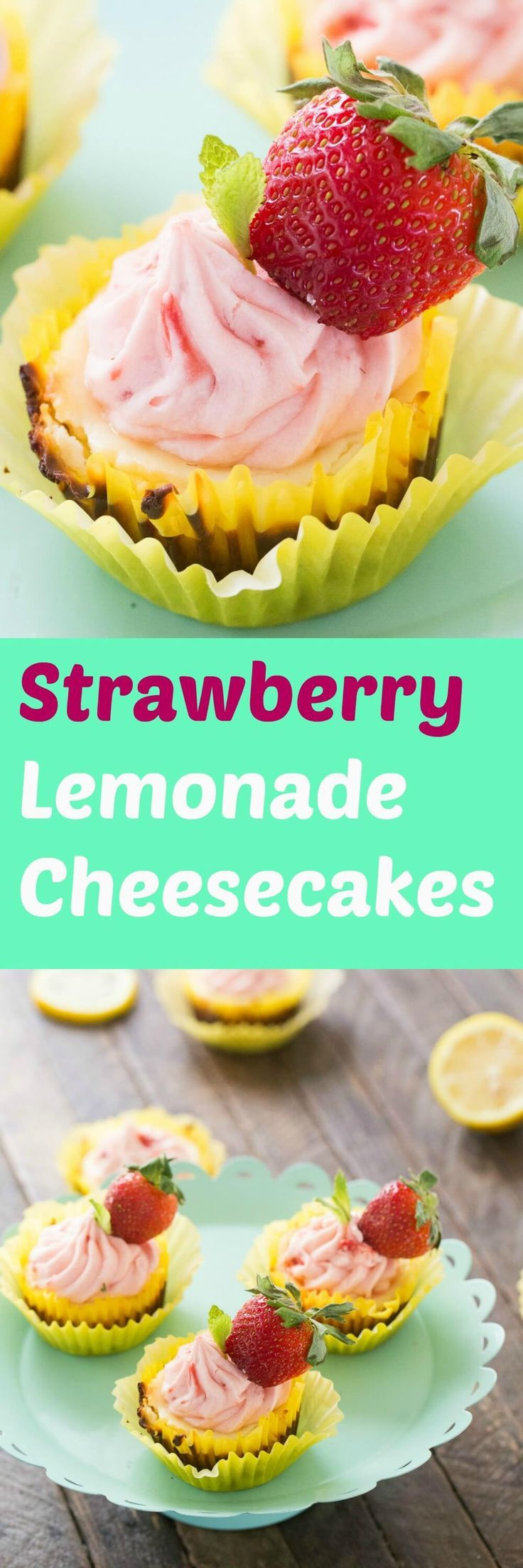 These strawberry lemonade cheesecakes burst with flavor!  Each bite is lusciously rich and creamy and shows off the tart and sweet ingredients hidden within! via @Lemonsforlulu