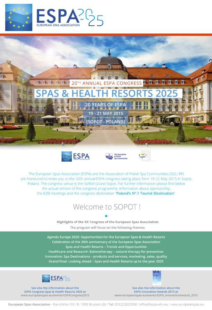 ALL ROADS LEAD TO SOPOT #ESPASopot2015 Last call to the XX ESPA Congress. http://www.europeanspas.eu/events/ESPACongress2015