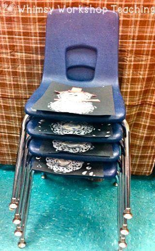 Ook stapels stoelen op school die vaak nutteloos 'in de weg' staan? Perfecte om verf- en knutselwerkjes te laten drogen!