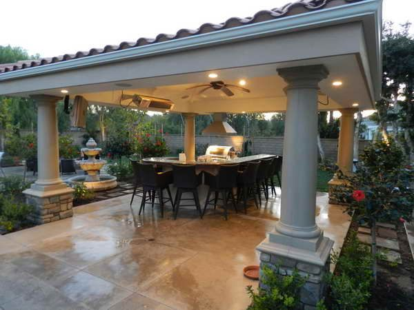 coveredpatiodesigns patio cover designs patio cover with water fountain designs - Roofing Ideas For Patio