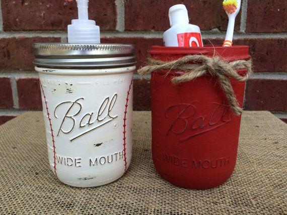 Hand painted Baseball Bathroom Set. Baseball Soap Dispenser. Baseball Bathroom Decor. Man Cave. Sports. Baseball Mason Jars. Vintage Decor
