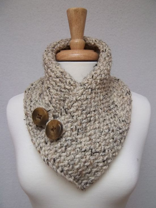 Knitted Scarf Buttoned Cowl Oatmeal Neck Warmer by NinisNiche, | http://creativehandmaderichard.blogspot.com