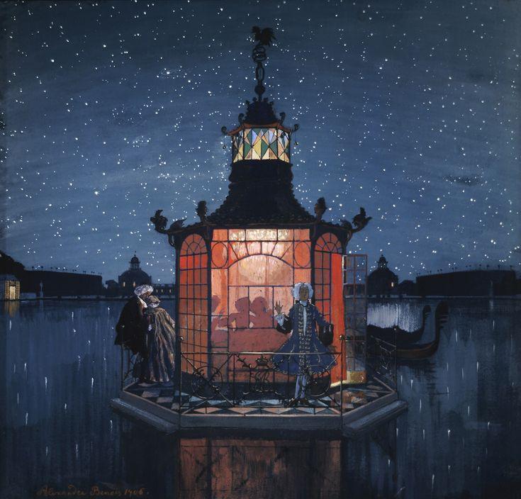Alexandre Nikolayevich Benois (1870-1960) Le pavillon chinois. Le jaloux. 1906 Le papier sur le carton, gouache, plume. 50 x 53 cm La galerie Tretiakov, Moscou
