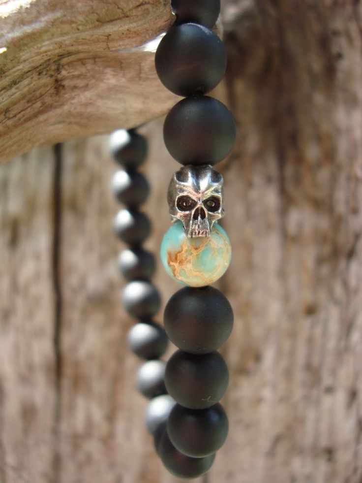 wtfbeads...Mens Matte Black Onyx Turquoise Cyber Skull Stretch Beaded Bracelet #wtfbeads #Beaded