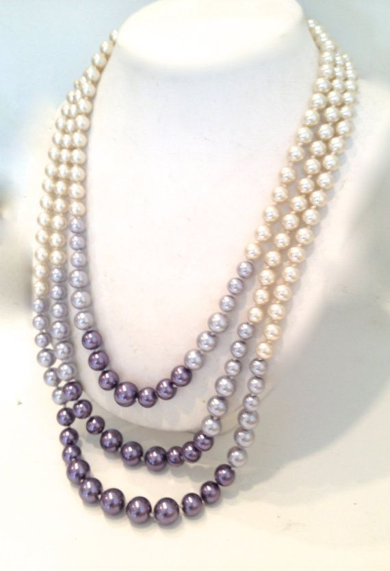 Ombre Silver Pearl Multi Strand Glass Pearl by WOWTHATSBEAUTIFUL