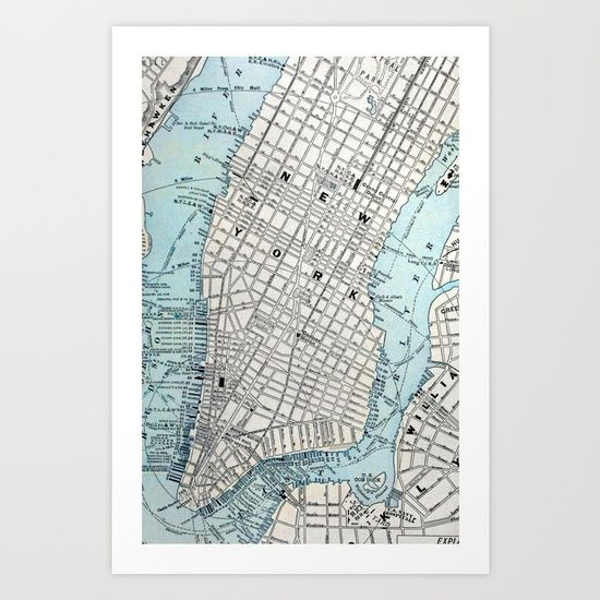 NEW YORK CITY MAP ORIGIN Art Print by NEW YORK STUDIO 202. Worldwide shipping available at Society6.com. Just one of millions of high quality products available.