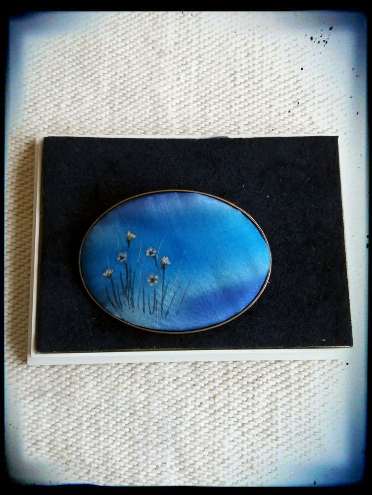 Vintage handpainted silk blue oval brooch by PawhillTreasures on Etsy