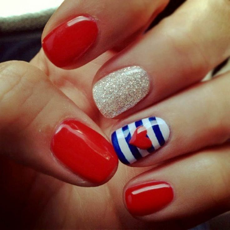 25 best pointy french manicure images on pinterest french red white and blue nails hearts and stripes found my fourth of july nail design prinsesfo Images