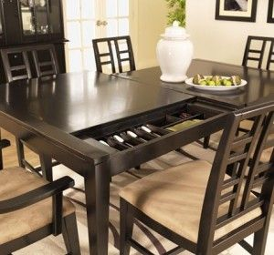 dining room table with sliding panel to reveal secret compartments for silver secret and. Black Bedroom Furniture Sets. Home Design Ideas