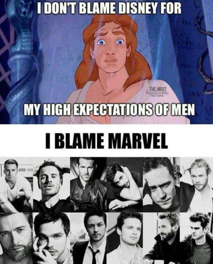 Blaming Disney, Marvel, or DC for one's high expectations of men makes as much sense as blaming Wonder Woman for one's unrealistic expectations of women!  Fiction is meant to be anything, even unrealistic, real life is a whole other matter!