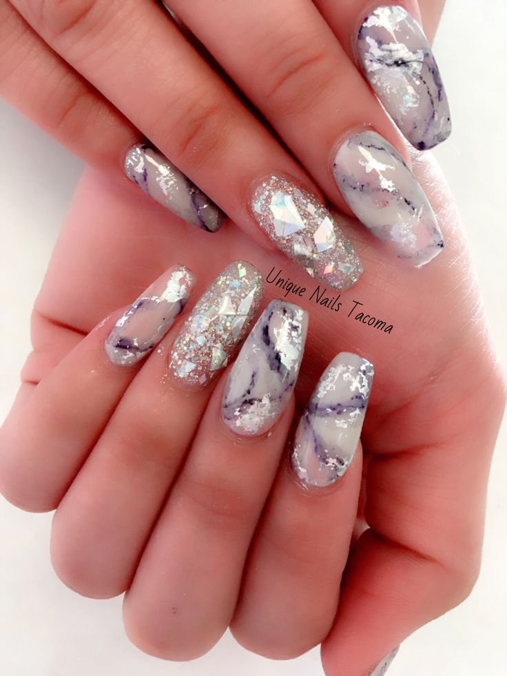 #nails #foil #marble #bling #designs