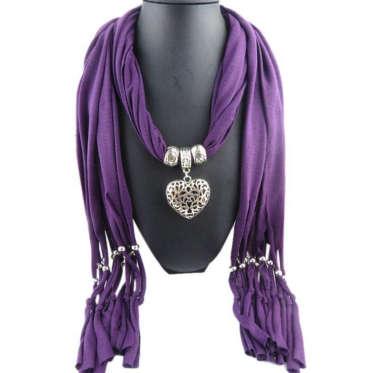 Feitong 2016 Новая мода зимы теплые шарф Женщины Амулеты шарф сплава сердца падения кулон ювелирные шарфы ожерелье шарф