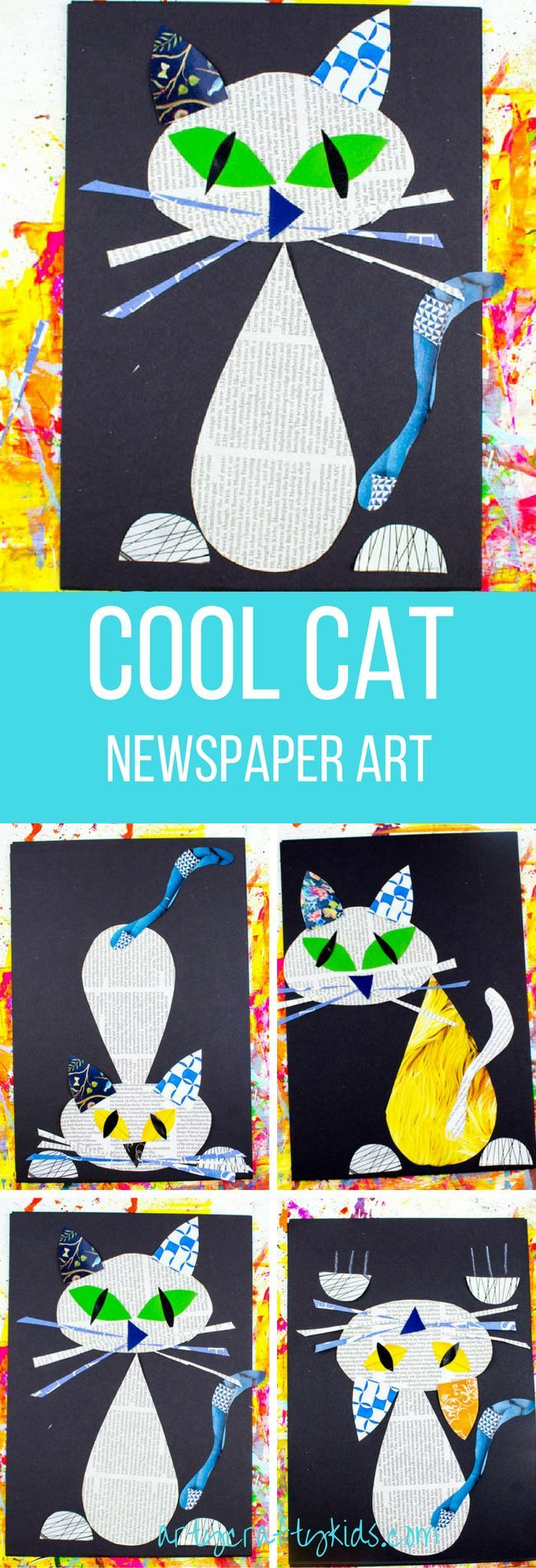 Arty Crafty Kids | Art | Cool Cat Newspaper Art for Kids | A fun recycled cat art project using recycled newspaper and magazines. With the help of a free template kids can make a cat that can strike multiple cool poses!