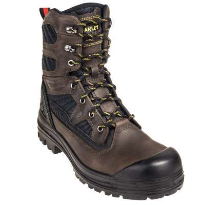 Rugged, hardworking guys need equally rugged and hardworking men's boots to keep up on the job site. Stanley knows all about it. After years of making durable tools to help you complete the job you do, it only makes sense that they make work boots ready for the job as well. Rugged polyurethane outsoles, 8 inches of leather and mesh uppers, safety toe caps, and the lightest, most breathable materials possible, these Stanley 8-Inch Assure Brown Steel Toe Men's FS8T153S Slip-Resistant Work…