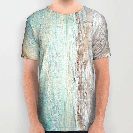 Mint and silver abstract unisex T-shirts for men and women by Vinn Wong | Full collection vinnwong.com | International Shipping | Visit the shop or Pin it For Later!