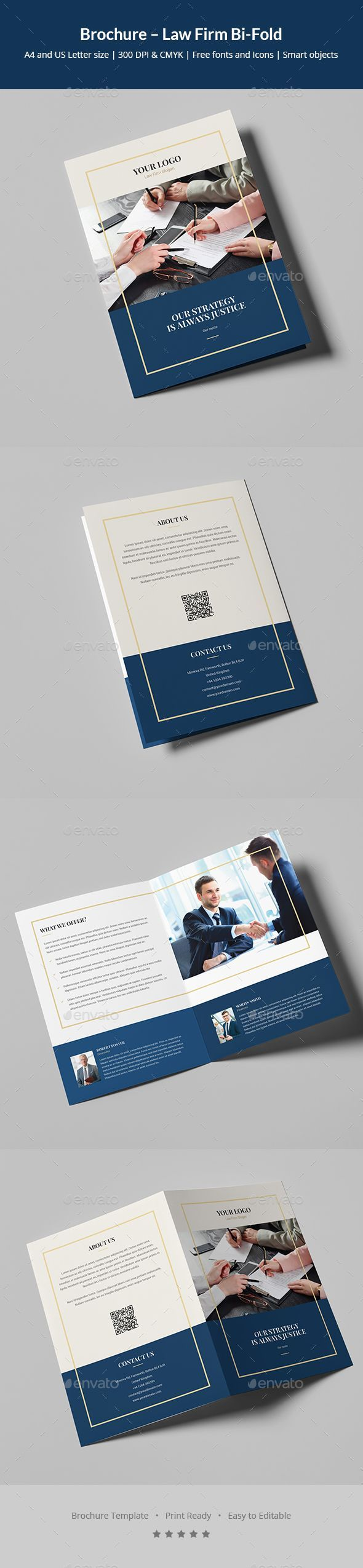 Law Firm Bi-Fold Brochure Template PSD - A4 and US Letter Size #FinanceBrochure