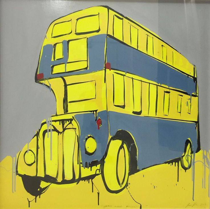 JASPER KNIGHT  Double Decker  Original Enamel Painting 100cm x 100cm FRAMED