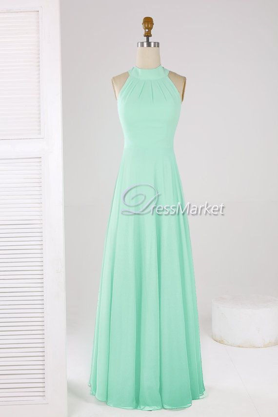 Hey, I found this really awesome Etsy listing at https://www.etsy.com/listing/245605976/mint-green-high-coller-simple-long-prom