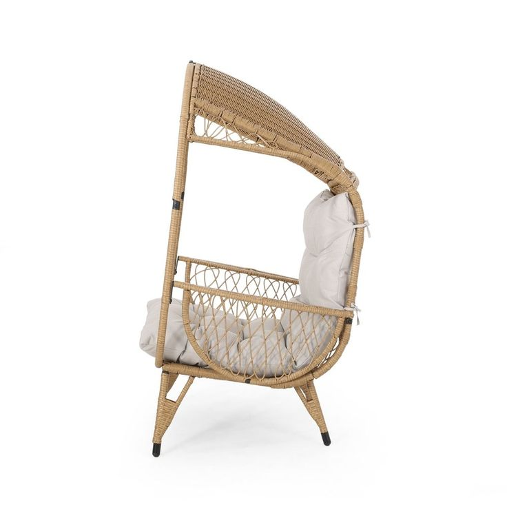 Malia outdoor standing wicker basket chair with cushion by