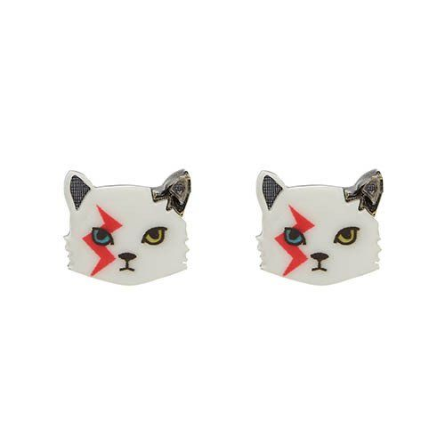 Rebel, Rebel (Erstwilder White Resin Cat Earrings) – Glitterally