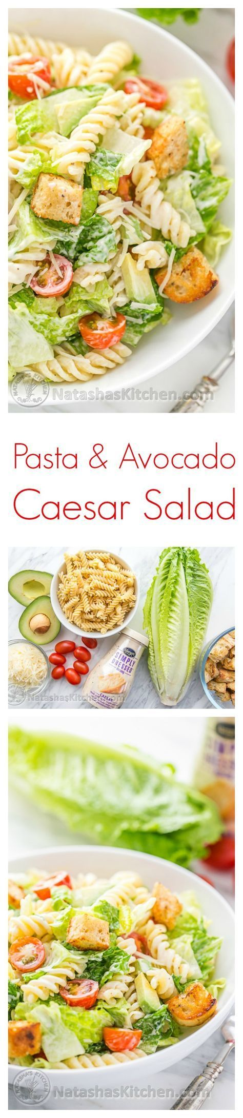 You have to try this Pasta Avocado Caesar Salad. Easy and family friendly weeknight meal! /natashaskitchen/ #sponsored by /marzettikitchen/