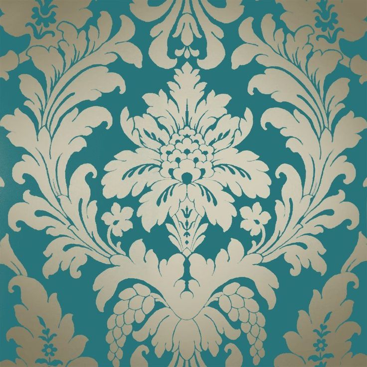 I Love Wallpaper™ Classic Metallic Damask Wallpaper Rich Teal / Gold