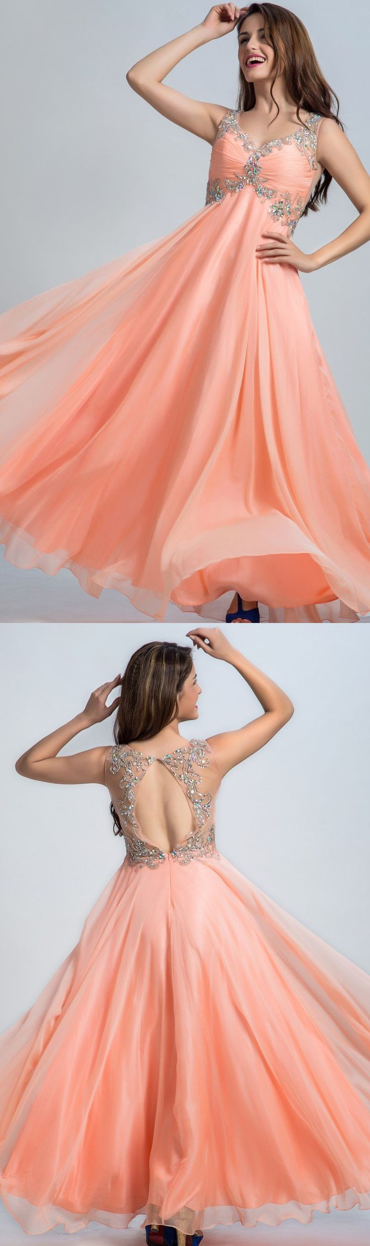 Discount Sleeveless Dresses Long Coral Evening Prom Dresses With Rhinestone Open-back Floor-length Distinct Evening Dresses