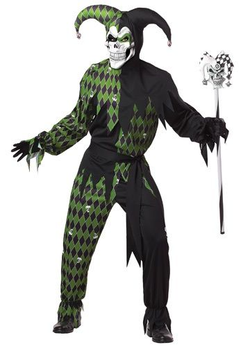 $38.99 Turn Mardi Gras into a nightmare when you wear this Men's Green Scary Jester Costume. It has a skull face and will give you a real scream!