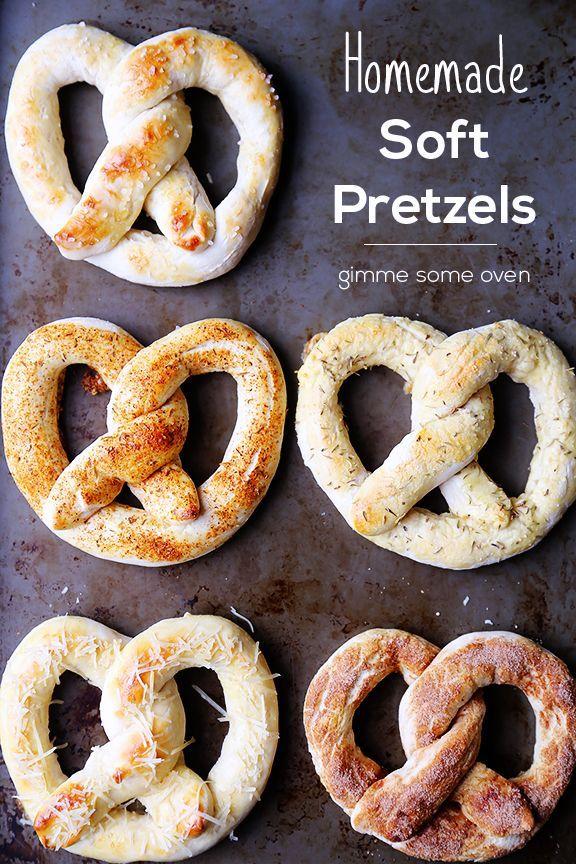 Quick and easy soft pretzel recipes including classic with sea salt, cinnamon sugar, parmesan, Italian garlic and Cajun.