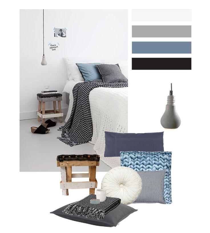 stijlkaart; stoere serene slaapkamer - bureau knipoog