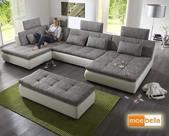 Wohnlandschaft Sofa Free Mit Schlaffunktion Und 4x Kopfstutzen Ecksofa Leder Schlafsofa Schlafcouch Lounge Amazon In 2020 Wohnen Sofa Mit Bettfunktion Big Sofa Kaufen