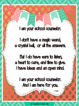 "School Counselor 'Poem' ""Fancy"" Set {Coral & Mint}"
