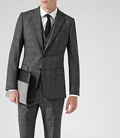 Galata Dark Grey Modern-fit Check Suit - REISS