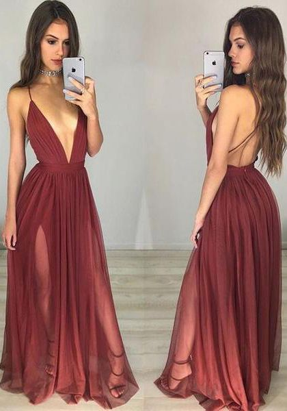 Sexy Maroon Prom Dress - Deep V-neck Long Ruched Backless,Backless dress,Low cut dress,Long prom dress
