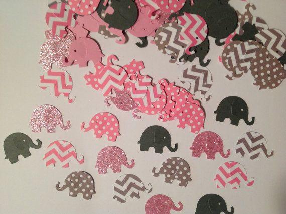 FREE SHIPPING 100 pink and gray chevron and polka dot elephants- baby girl shower- elephant theme- wedding- animal theme