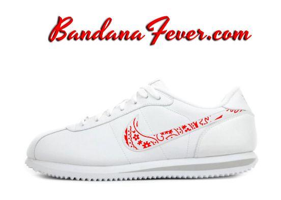 "Bandana Fever - Nike ""OG Red Bandana"" Cortez Leather White/Zen Grey Swoosh by Bandana Fever, $144.99 (http://www.bandanafever.com/nike-og-red-bandana-cortez-leather-white-zen-grey-swoosh-by-bandana-fever/)"