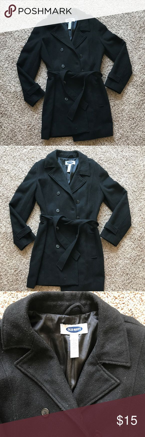 Old Navy Pea Coat Size LARGE.   Black Old Navy Pea Coat.   USED and shows normal wear Old Navy Jackets & Coats Pea Coats